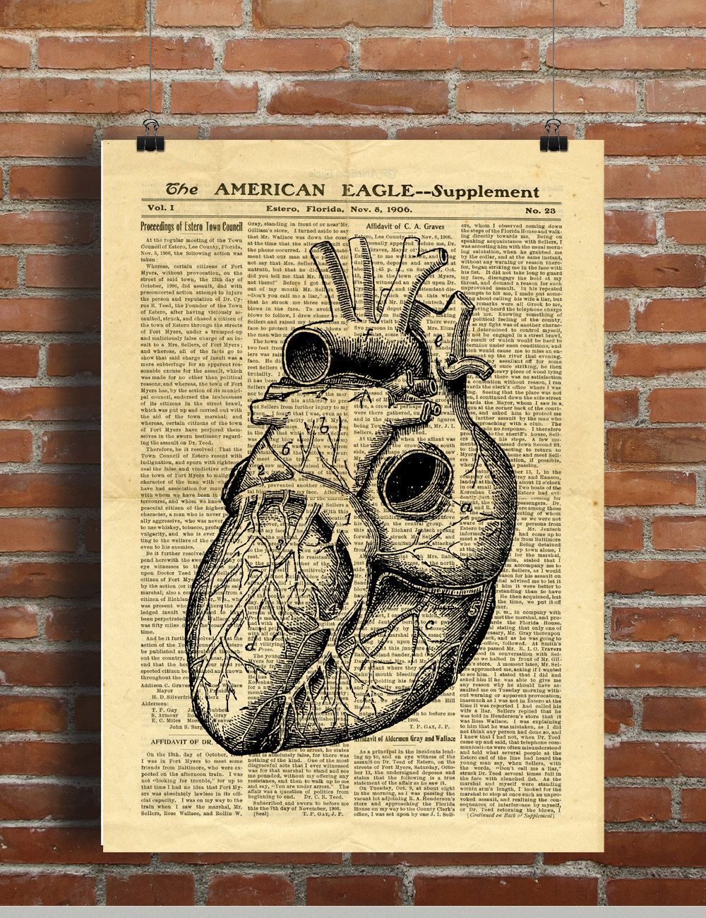 Human Heart Antique Anatomy Vintage Printable Collage Old Newspaper ...