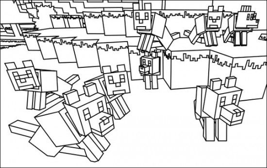 Minecraft Wolves Coloring Pages