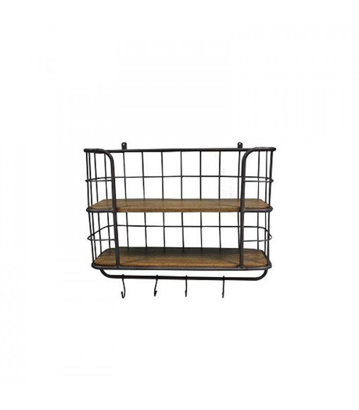 tag re murale rangement m tal grillag e gris 3 tages. Black Bedroom Furniture Sets. Home Design Ideas