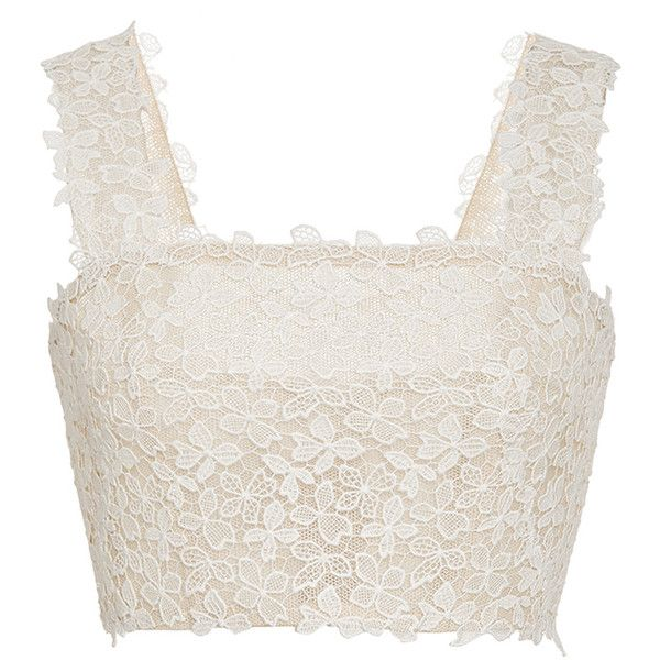Monique Lhuillier Floral Lace Embroidered Delia Corset (10.490 NOK) ❤ liked on Polyvore featuring tops, crop and monique lhuillier