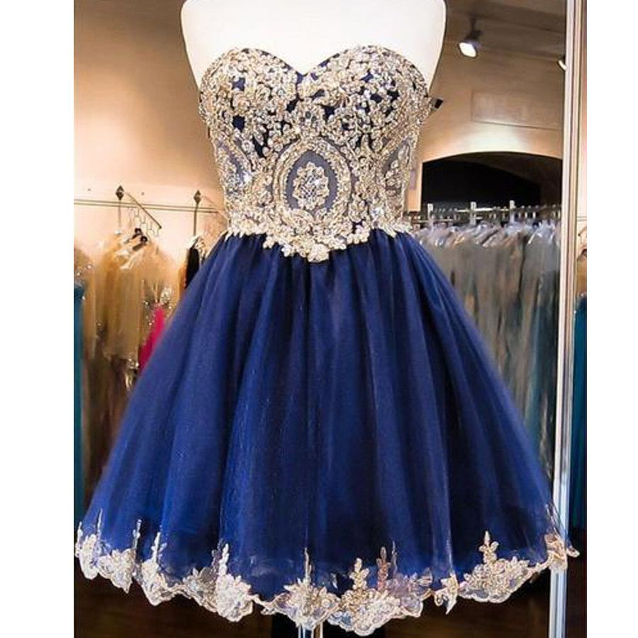 3396b315345 Vintage Navy Blue Strapless Sweetheart Lace Appliques Beads Mini ...