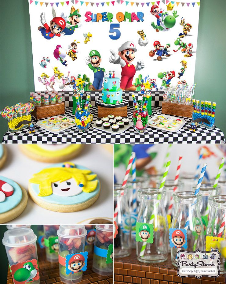 Super Mario Themed Birthday Party cookies desserttable
