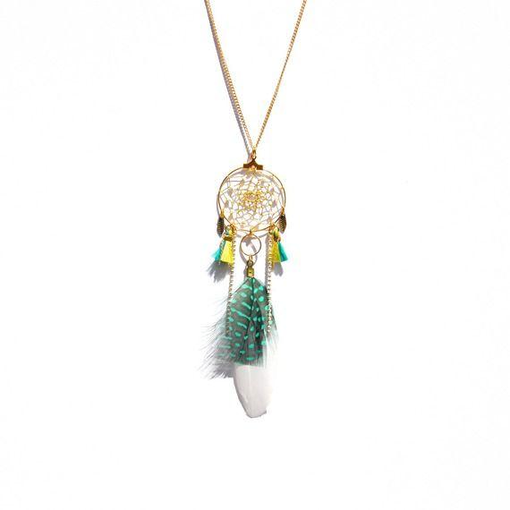 Sautoir attrape rêve doré, plume verte et blanche, pompon vert jade et vert lime
