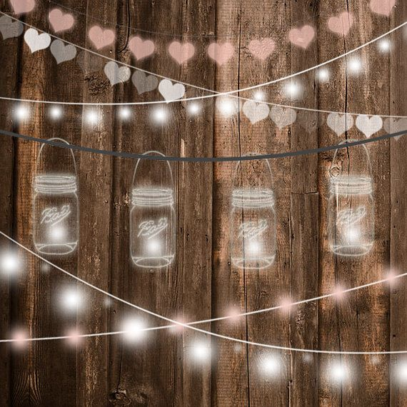 String Lights Clipart Wedding Invitation Party Mason Jar Glowing