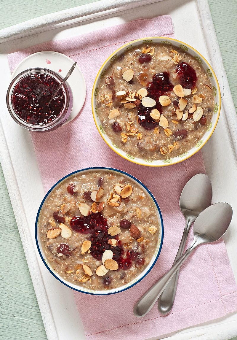Overnight Toasted Oat & Quinoa Porridge loaded with dried fruit and nuts, hearty and delicious!
