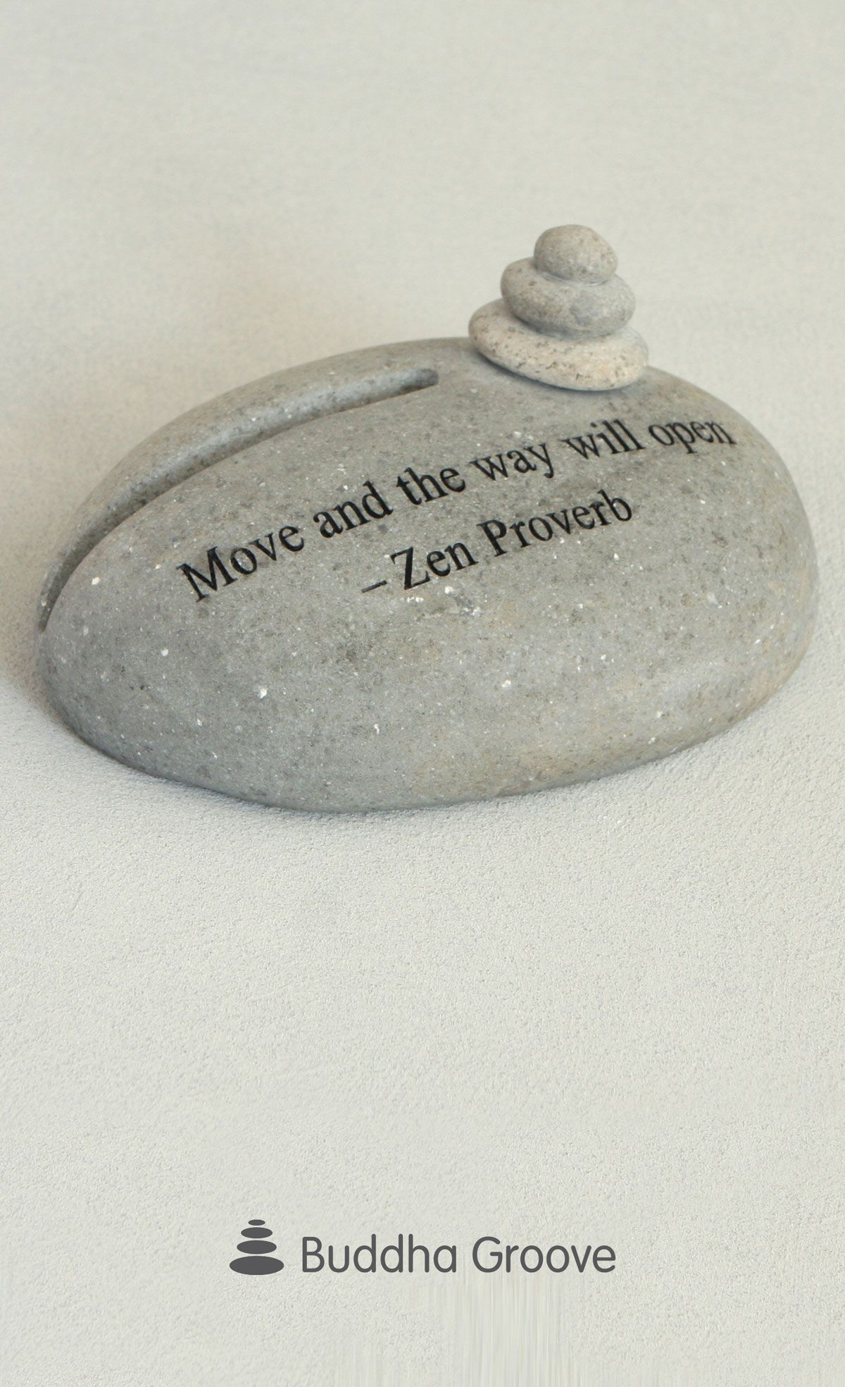 Zen proverb stone cairn business card holder reheart Choice Image