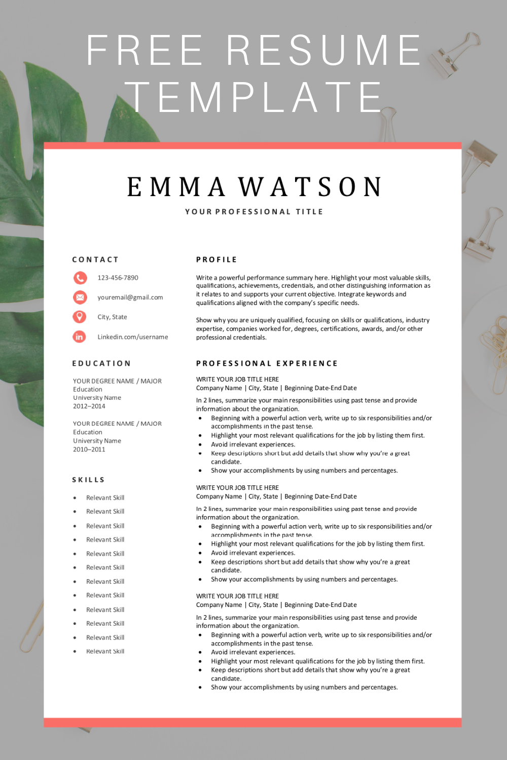 Simple Resume Template Download for Free (With images