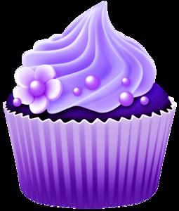 Dibujos. Clipart. Digi stamp - Vector Purple Cupcake