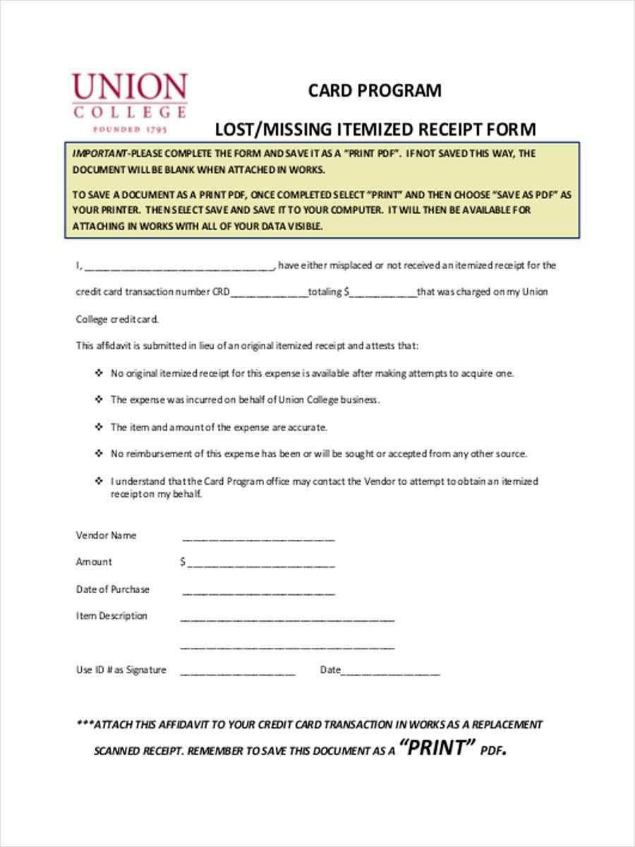 Editable Free 7 Lost Receipt Forms In Ms Word Pdf Excel Missing Receipt Form Template Excel Receipt Template Templates Receipt