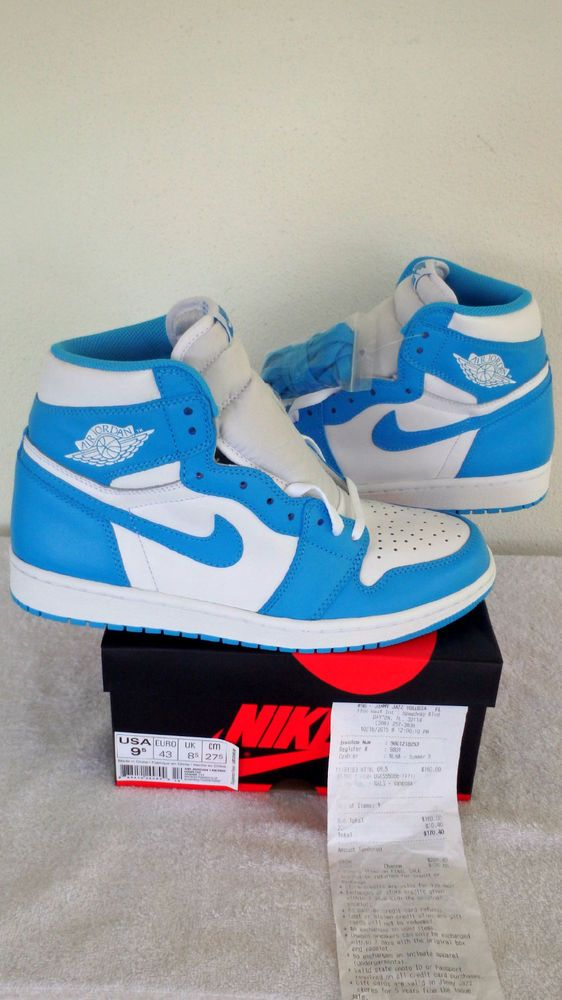 Nike Air Jordan 1 Retro High Og Unc Dark Powder Blue White Sz 9 5