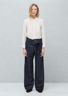 Flowy linen-blend trousers