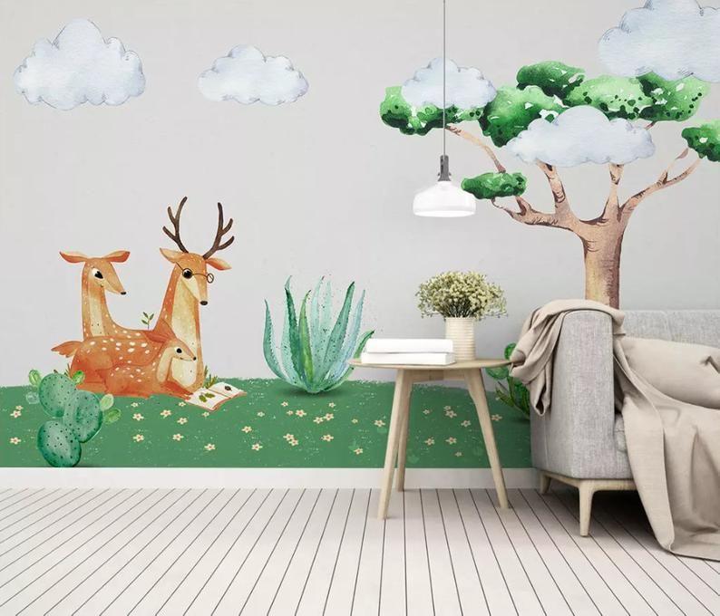 3D Kids, Woods, Sika deer, Cactus WallpaperNursery