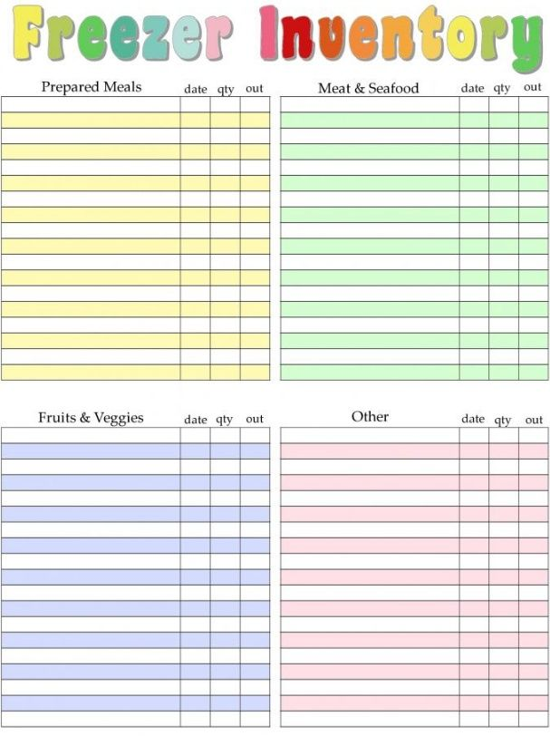 Home Management Binder - Freezer Inventory | | [Food Trackers (#BuJo ...