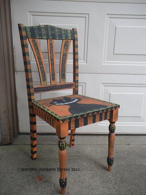 Halloween Chair Hand Painted Cat Folk Art by ...