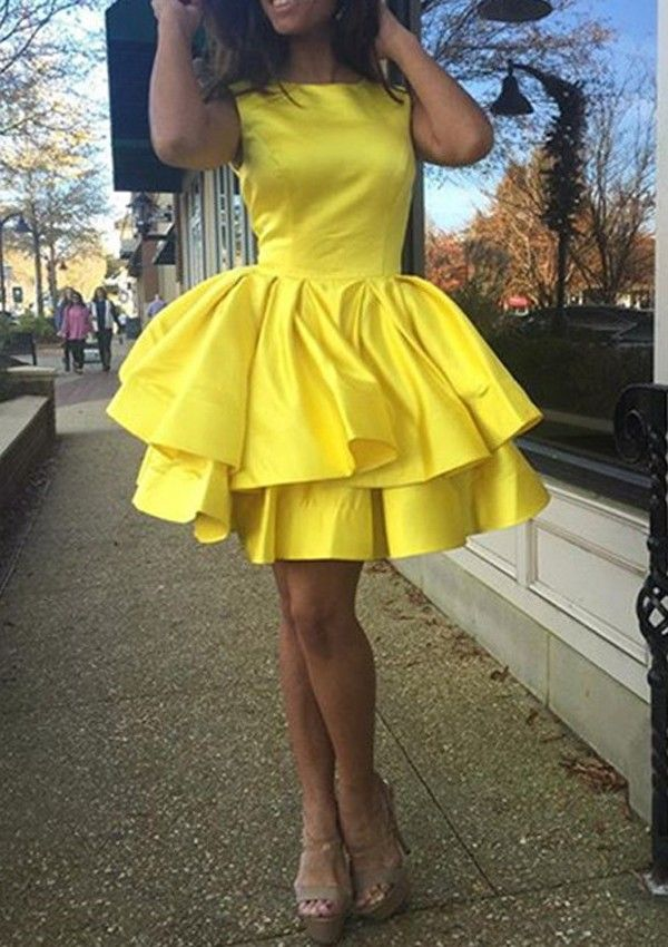 06d76c573f Buy A-line Jewel Short Satin Ruched Sleeveless Yellow Homecoming Dress  Homecoming Dresses under US  108.99 only in SimpleDress.