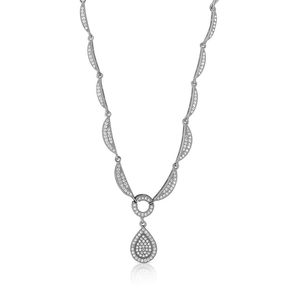 Collette z sterling silver cubic zirconia pear drop necklace cz
