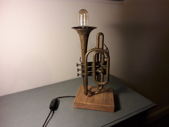 Upcycled Vintage Cornet Trumpet Table Lamp