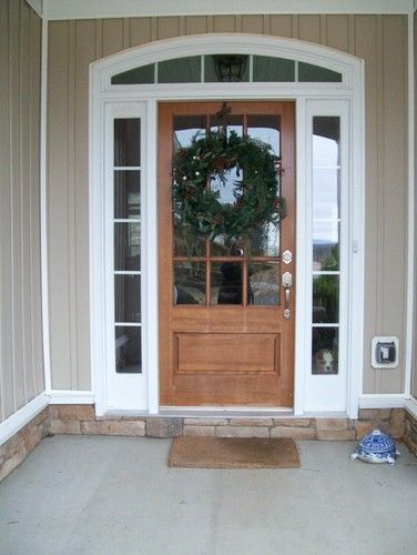 Wood Door With Large Window And Side Lights Garage Front