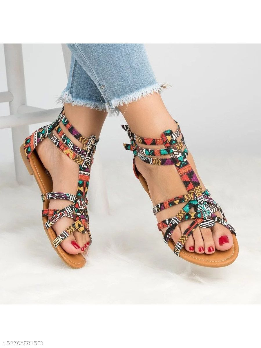 f18db73708f6 Floral Flat Ankle Strap Peep Toe Casual Gladiator Sandals - berrylook.com
