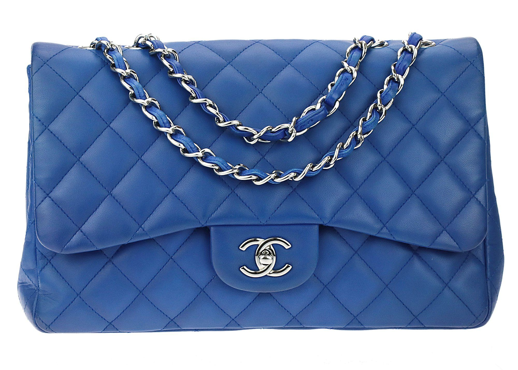 ac461471c73c Chanel Cobalt Blue Quilted Lambskin Leather Jumbo Single Flap Bag ...