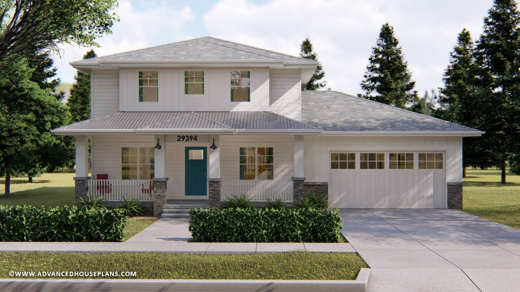 The Faust Is A Modern Prairie Style 2 Story House Plan With An Elegant Exterior And A Functional Simple Prairie House Prairie Style Houses Square House Plans
