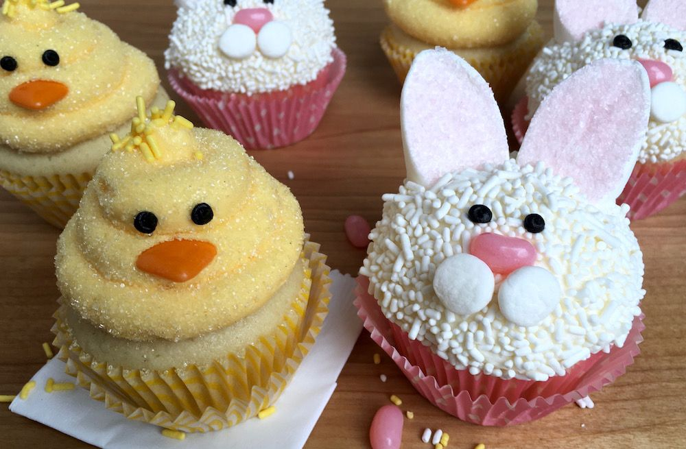 Easter Bunny Cupcakes and Chick Cupcakes - Easter bunny cupcakes, Easter cakes, Bunny butt cupcakes, Chicken cupcakes, Bunny cupcakes, Animal cupcakes easy - Make these sweet EasyEaster Bunny and Chick Cupcakes for your spring festivities  They're so cute, easy and will be a hit with the kids and adults!