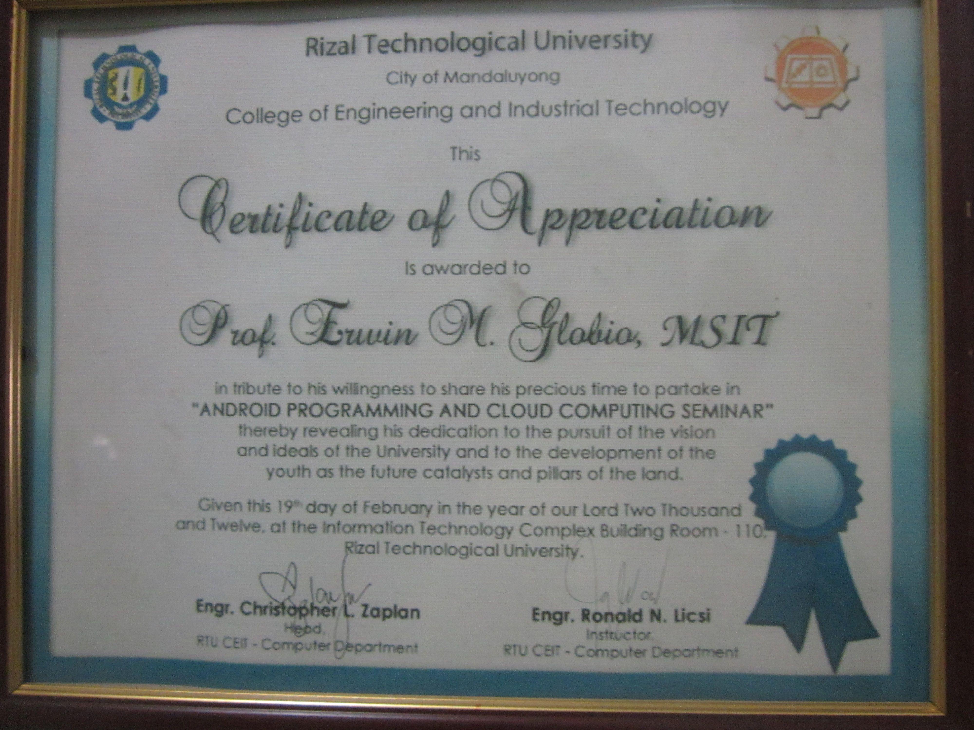 Prof erwin globios certificate of appreciation http erwin globios certificate of appreciation httpeglobiotraining resource speakers certificate pinterest certificate yelopaper Gallery