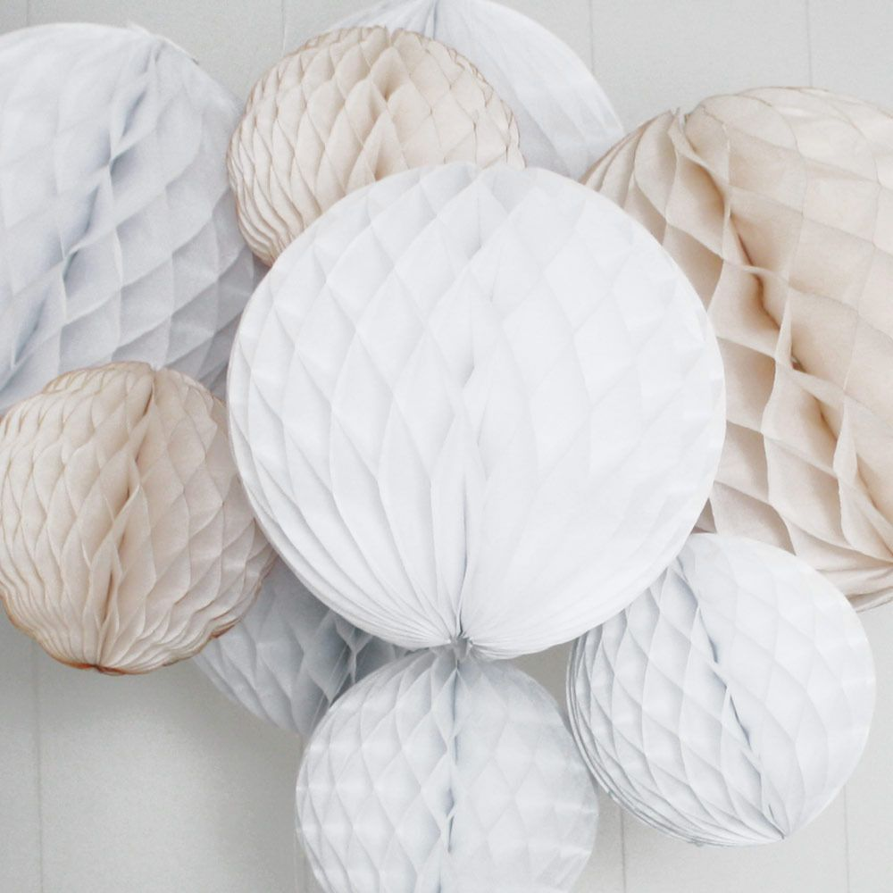 Wedding decorations paper  christmas honeycomb balls in white grey and beige  Inspiración