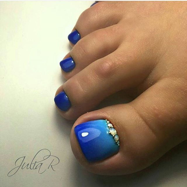 Blue Ombre Toes With Jeweled Accents