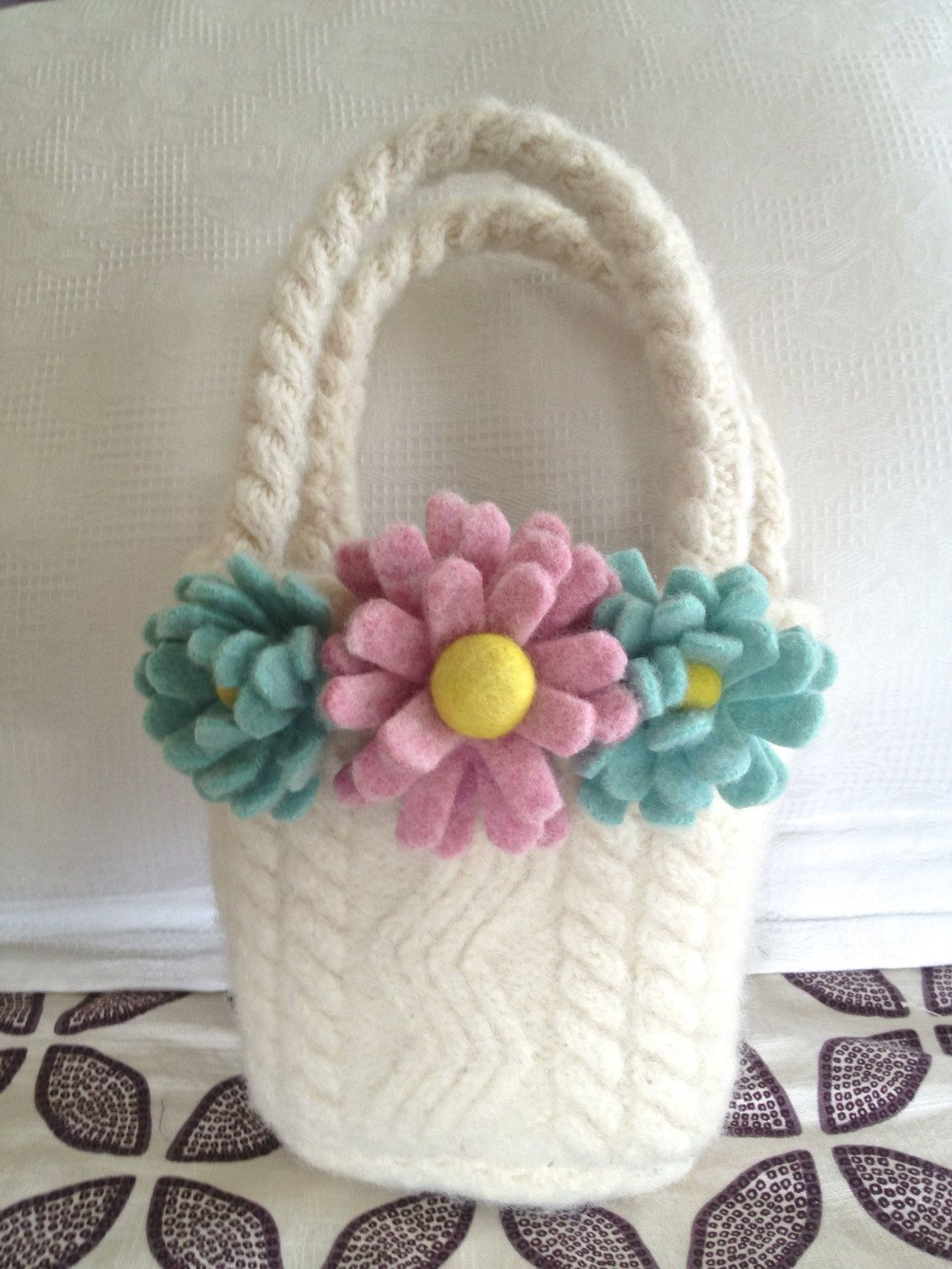 Recycled Wool Flower Easter Basket. $58.00, via Etsy ... - photo#31
