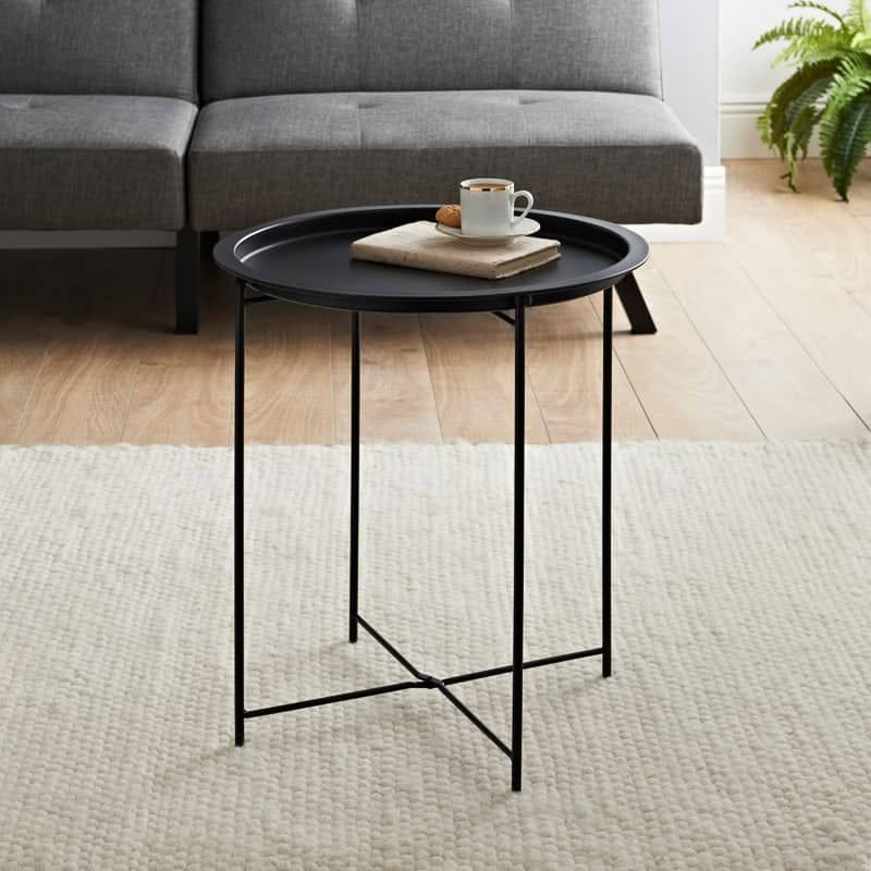 Tromso Tray Side Table Black In 2020 Black Side Table Black Living Room Table Living Room Furniture