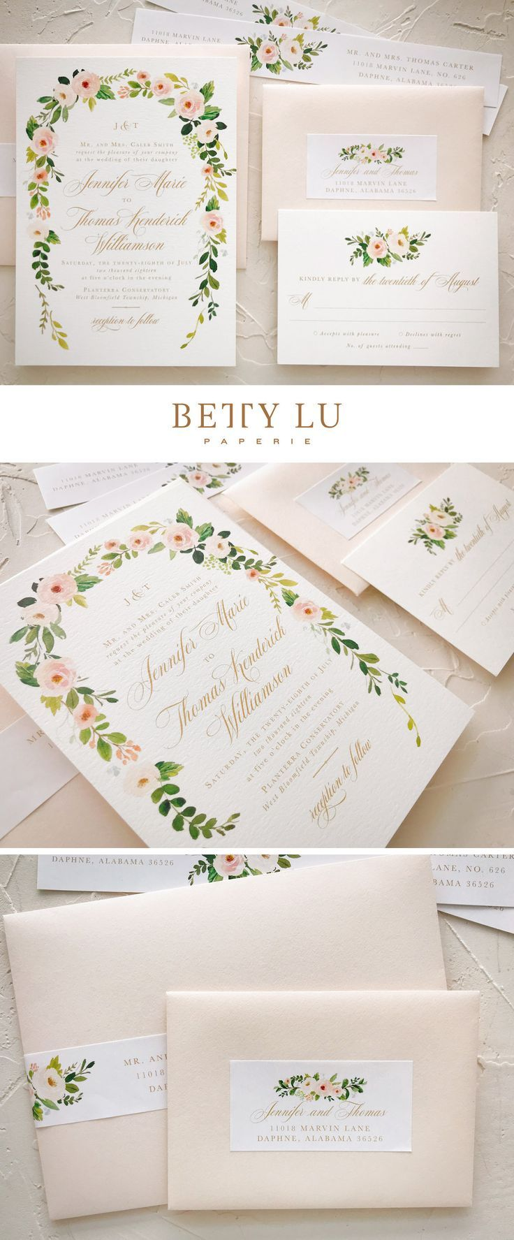 Watercolor Floral Wedding Invitations Wedding Invitation Vintage