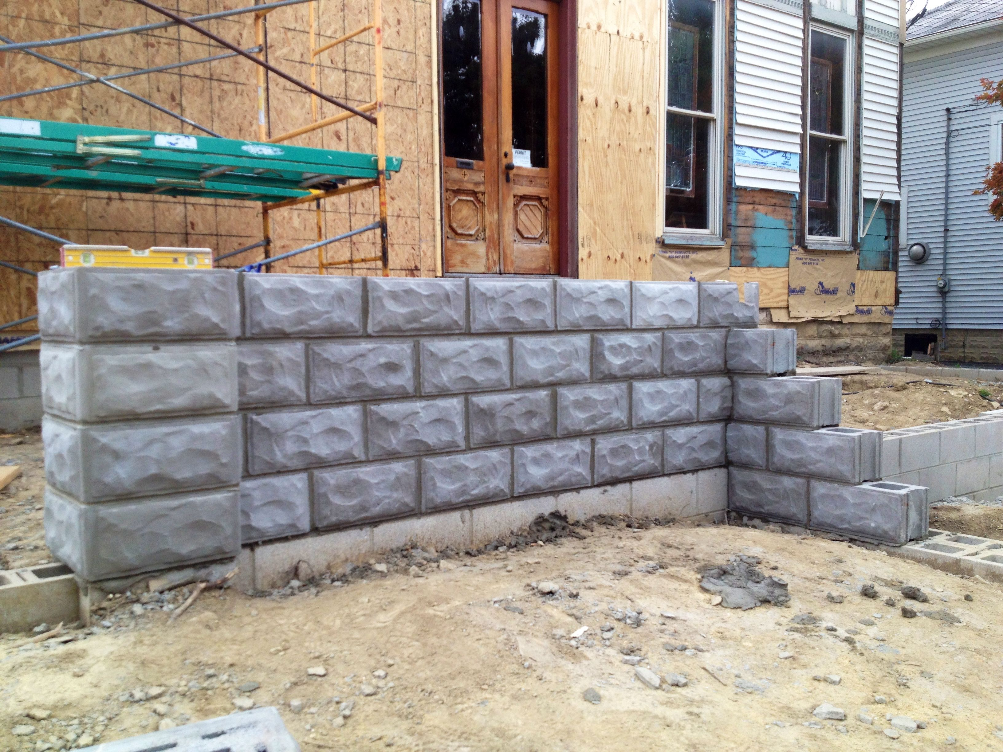 16x16 Column Block And 8x8x16 Line Block Old Houses Rock Face Patio