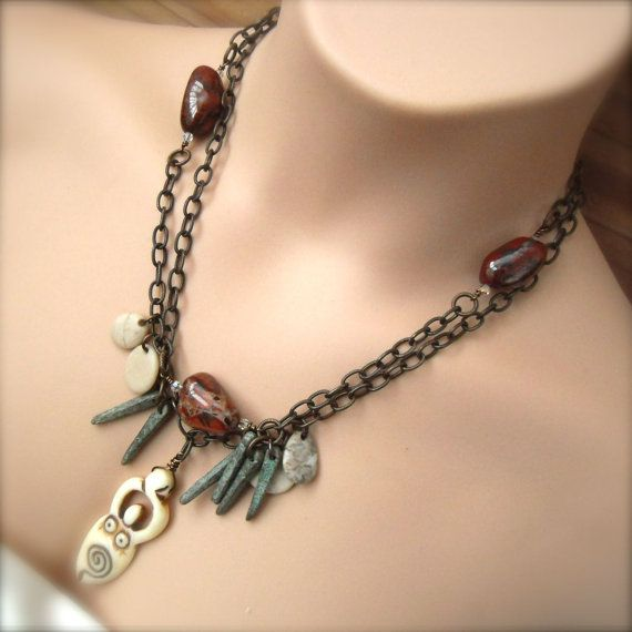 Beaded Necklace Pendant #Bohemian Style by discerningchichi on Etsy