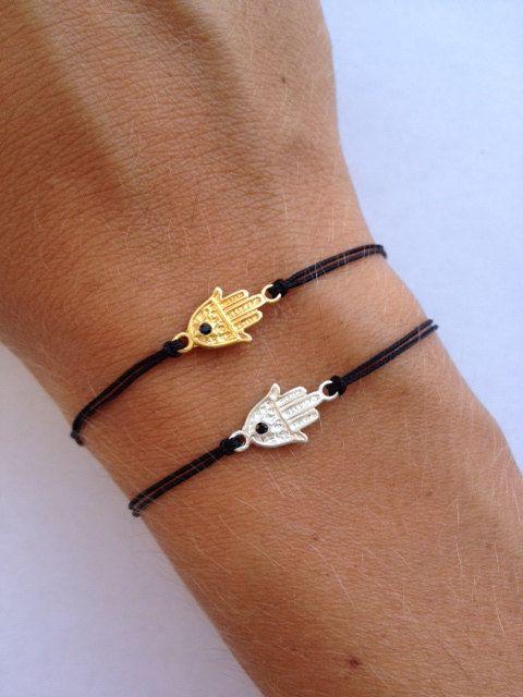 Fatima Hand Charm Sterling Silver On Black Bracelet Black