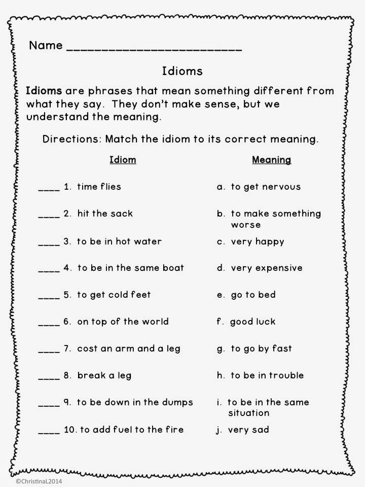 Idiom Worksheet 3rd Grade The Best Of Teacher