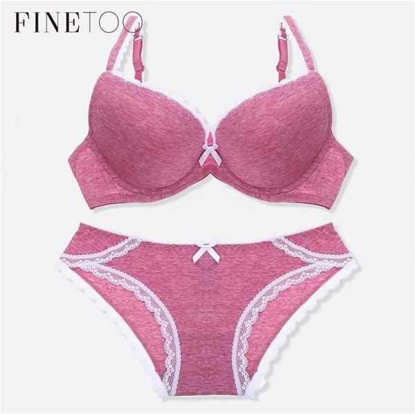 eb2a0e1c9c Fashion Cotton Sexy Bra Set Seamless Push Up Bra Underwear Suit Adjustable 3  4 Cup Deep V Bras Comfortable Panties…  Discounts  BestPrice
