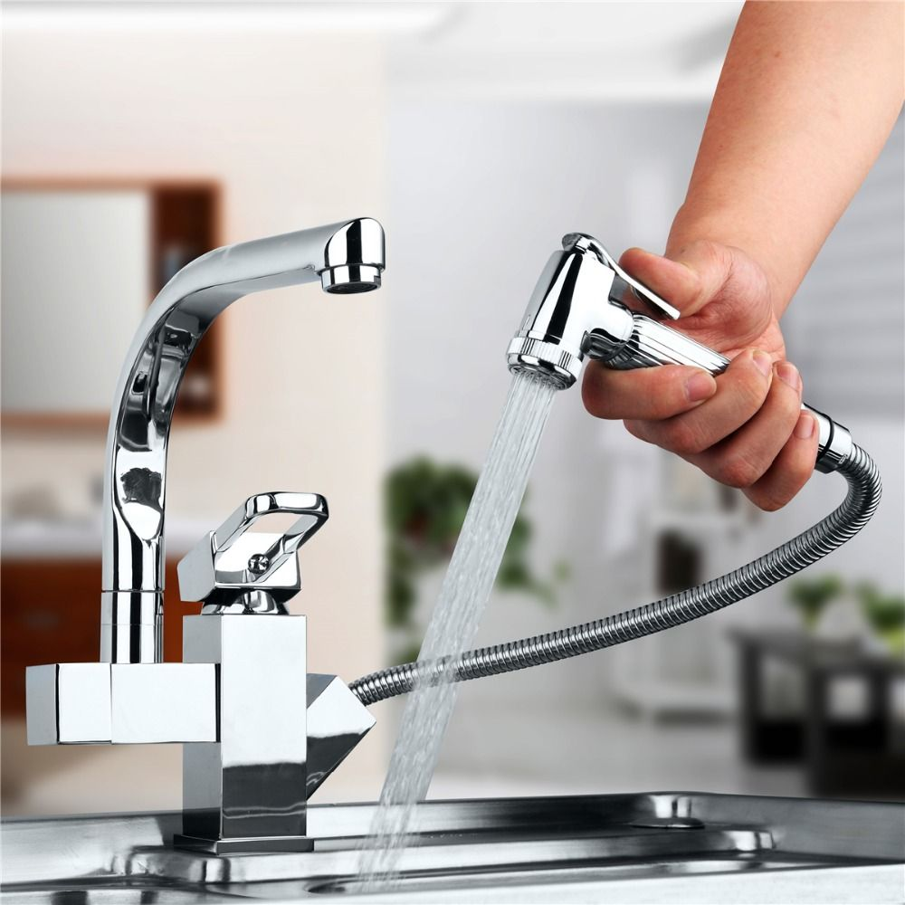 Centerset Contemporary Two Spouts Kitchen Faucet Deck Mounted Pull Alluring Discount Kitchen Faucets Design Ideas