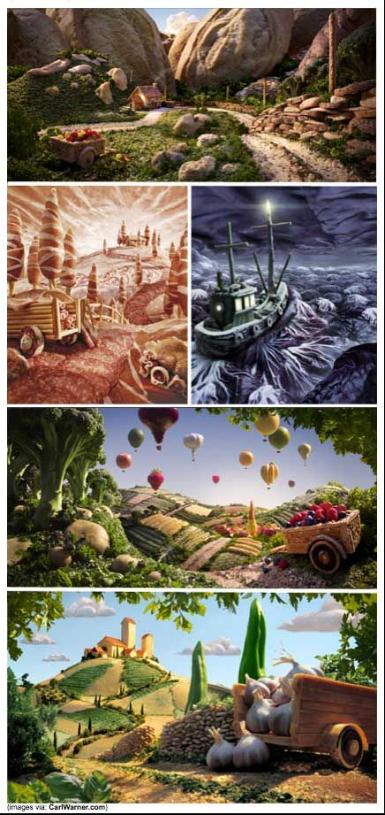 Foodscapes artist Carl Warner creates amazing landscapes out of food. He even animates them at times. #food #artist #Carl_Warner