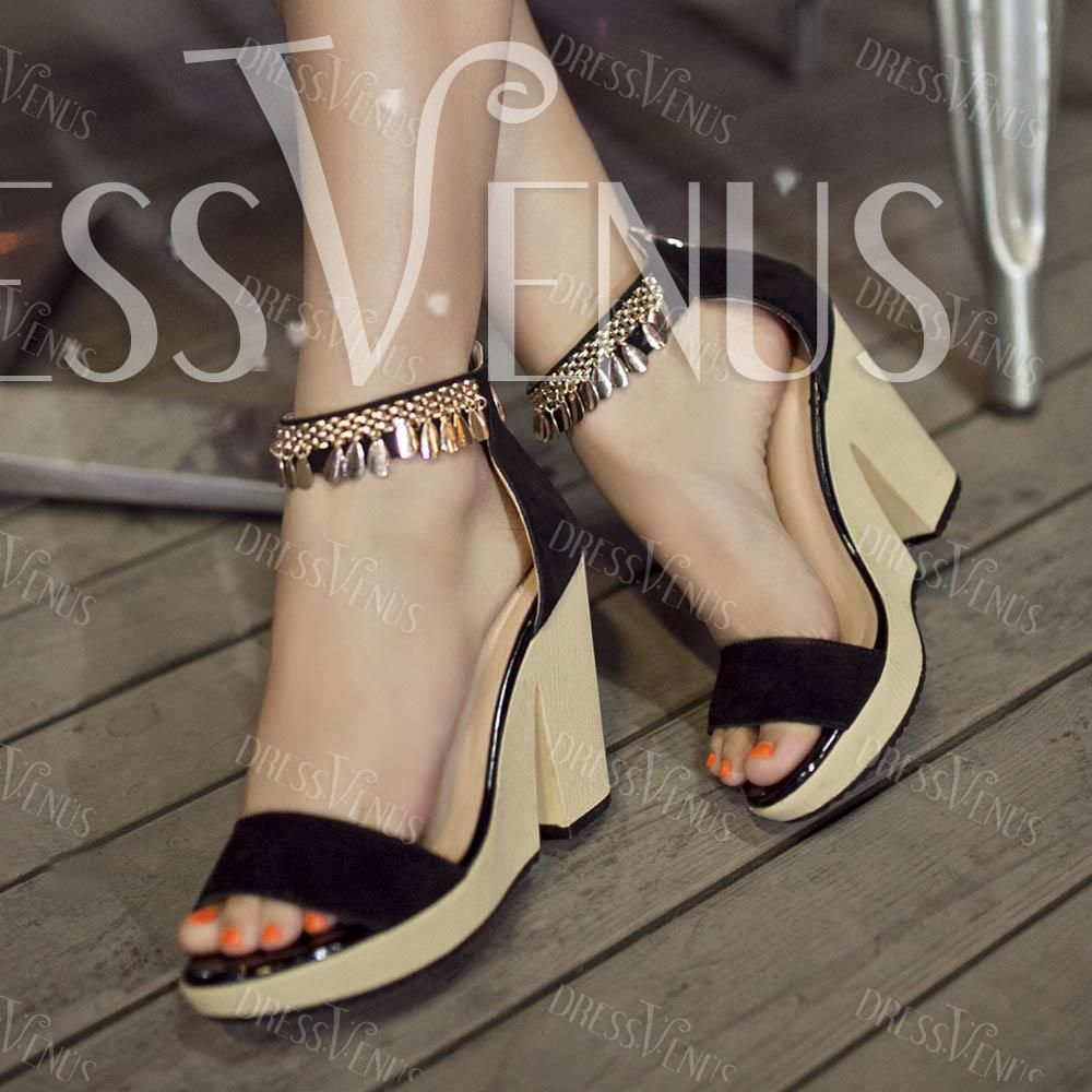 Shoes zone sandals - Sexy Black Metal Tassel Open Toes Chunky Heels Sandals Shoes Zone Sandals
