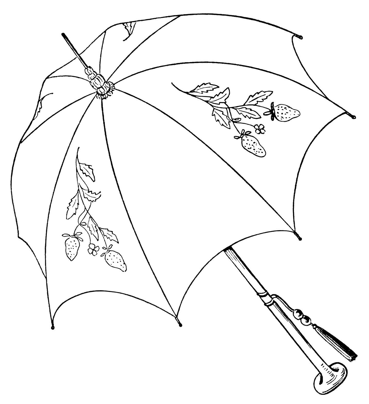 vintage parasol clipart, black and white graphics, umbrella clip ... for Strawberry Clipart Black And White  66pct