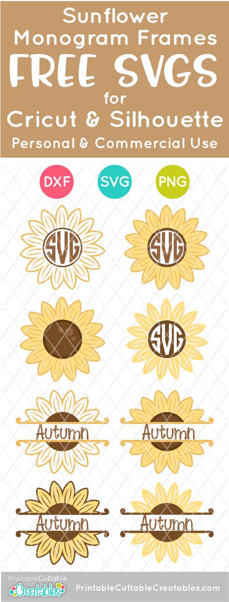 Sunflower Monogram Frames Free SVG Files for Cricut & Silhouette