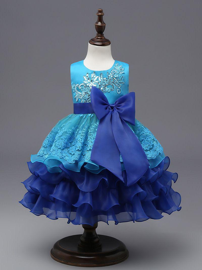Blue Princess Flower Girl Dress Birthday Party Formal Easter Wedding ...