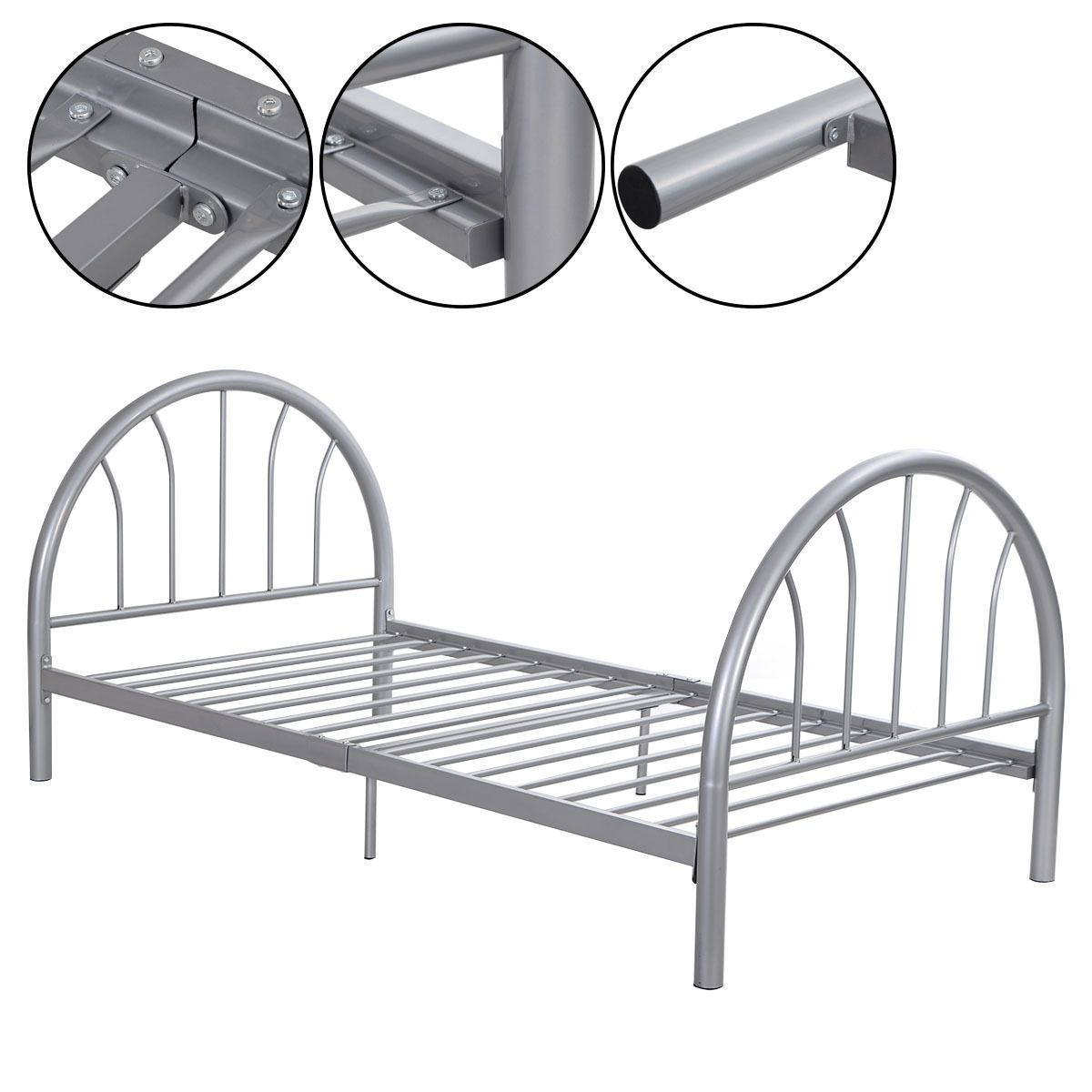The Sliver Steel Bed Frame This Folding Bed Base Is A Good Choice If You Need Some Extra Under The Bad St Metal Bed Frame Twin Size Metal Bed Frame Metal