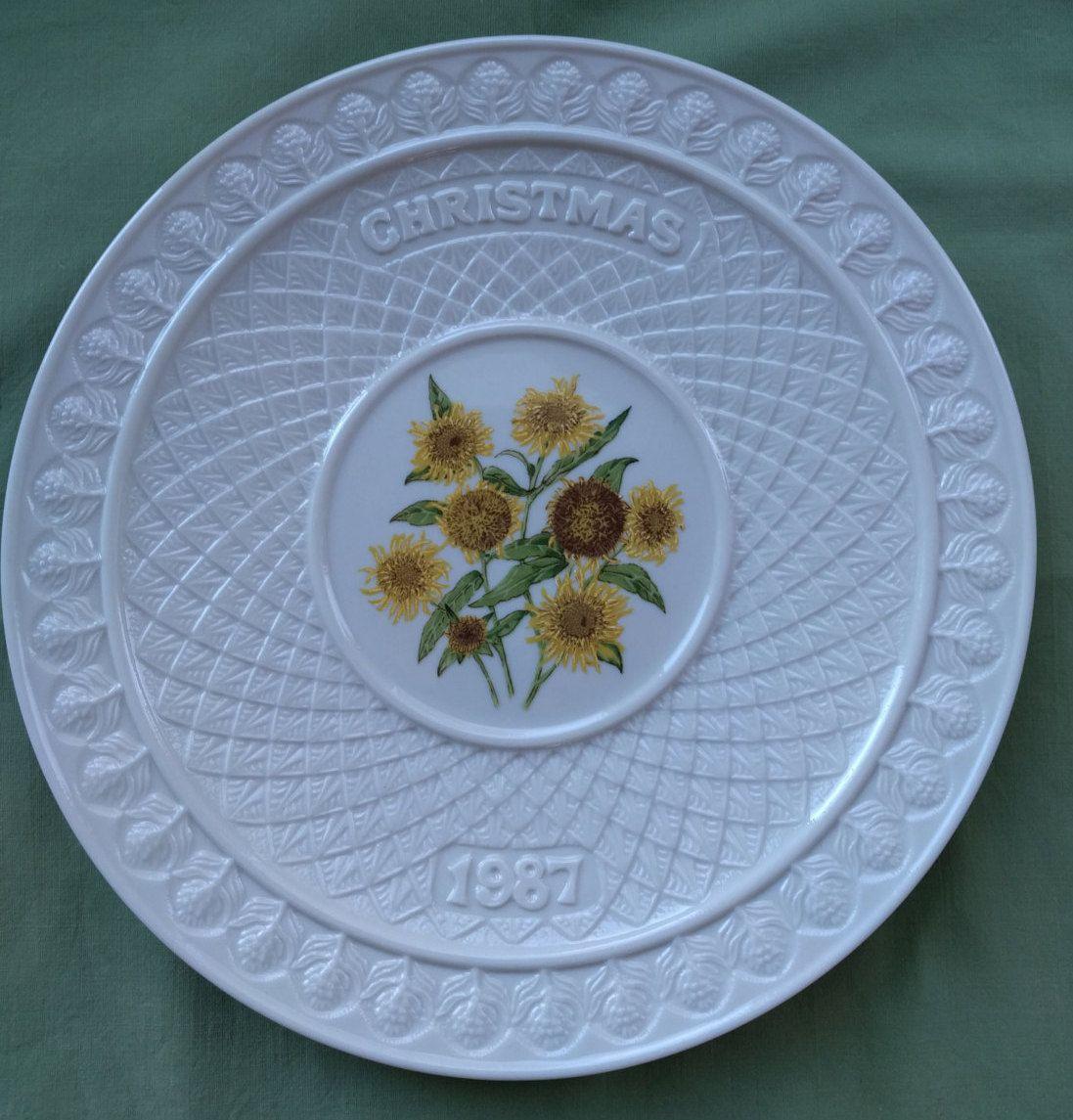 Irish Belleek Christmas Plate Vintage Porcelain Collectible 7th Mark Gold 1987 Sunflowers Christmas Plates Belleek Plates