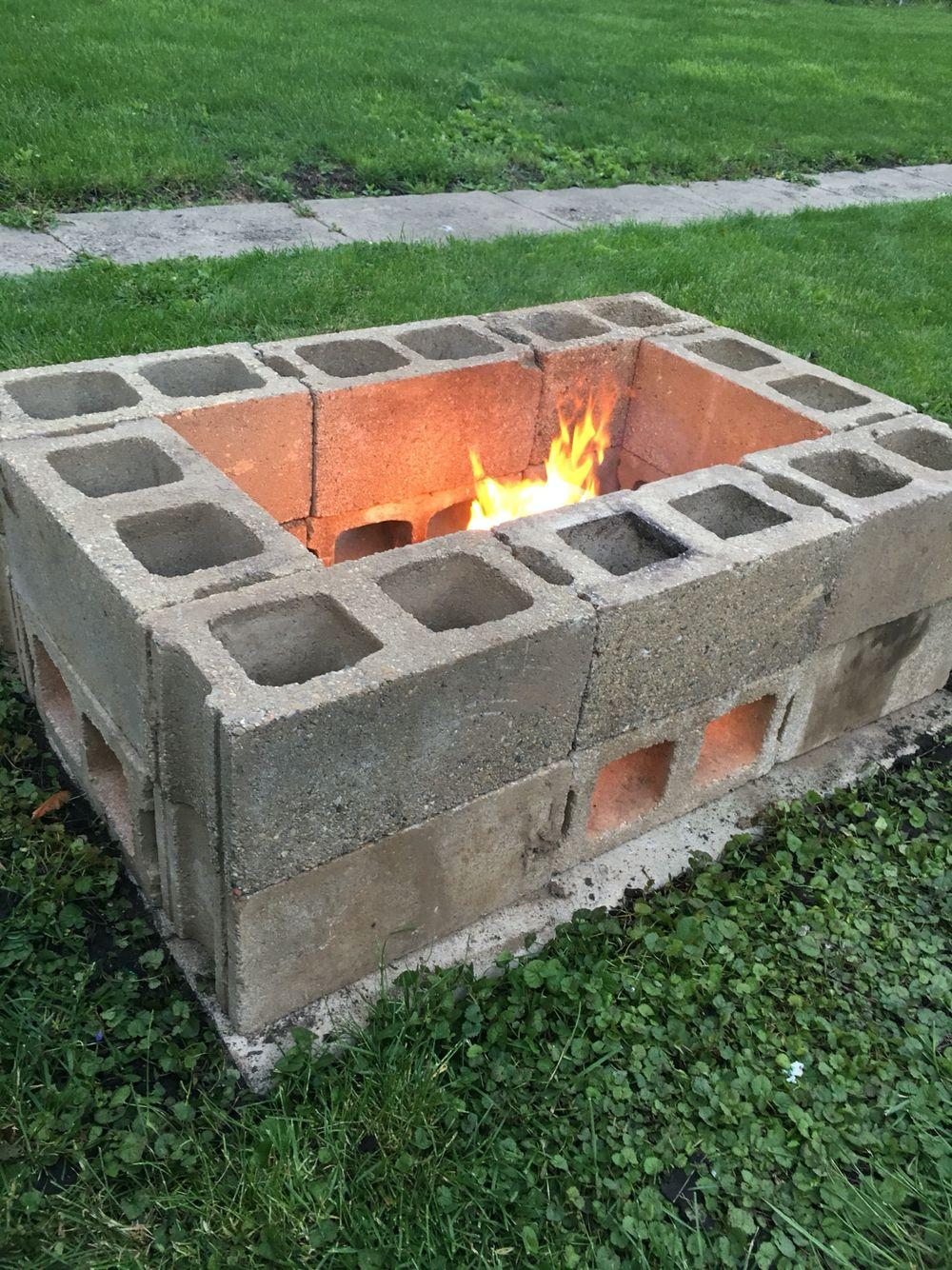 DIY fire pit made from cinder blocks | Cinder block fire ... on Diy Cinder Block Fireplace id=53953
