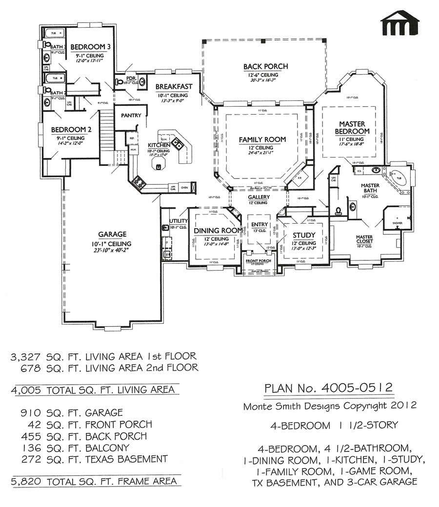 1 1 2 story 4 bedroom 4 1 2 bathroom 1 dining area 1 - 4 bedroom 3 car garage house plans ...