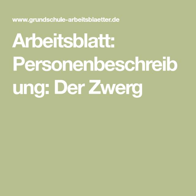 arbeitsblatt personenbeschreibung der zwerg deutsch personenbeschreibung. Black Bedroom Furniture Sets. Home Design Ideas