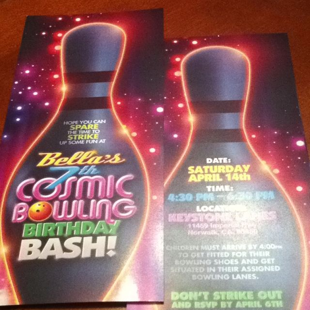 Cosmic Bowling Birthday Invites Birthday Invites Pinterest - bowling invitation