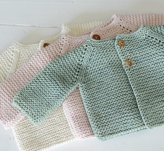 ENGLISH KNITTING Pattern for Beginners Sweater Jumper Basic Baby Cardigan Toddler Sweater 3-6-12-24 months to child sizes PDF file Knit